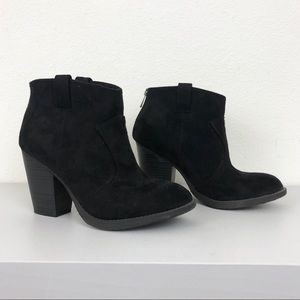 Black Faux Suede Chunky Block Heel Zip Ankle Boots